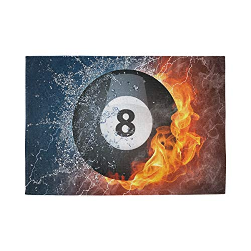 TSWEETHOME 8 Ball Pool Best Print Flax-Like Fiber 12x18 Inch Placemats Heat Resistant Anti-Skid Washable Table Plate Mats Kitchen Dining Wedding Party Home Decor,Set of 1,4,6