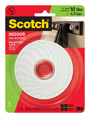 Scotch Mounting, Fastening & Surface Protection 314 125-inc, White, Scotch Indoor Mounting Tape, 1-Inch x 125-Inches, 1-Roll (314P)