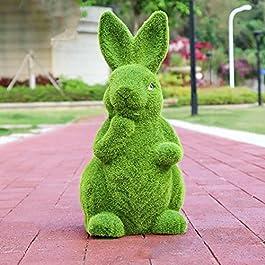 LONG-L Jardin Flocage Lapin Statue Décor,Pâques Mousse Lapin Figurines Ornement,Animal Gazon Artificiel,Imperméable Anti…