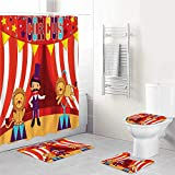 SUGARHE 4 Piezas de Alfombra de baño Antideslizant,Domador de Circo y león Actuación de Circo Divertida celebración de Imagen Decorativa de Fiesta,Tapa de Inodoro Alfombrilla de baño Cortina de Ducha