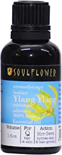 Ylang Ylang Essential Oil, 100% Pure Indian Undiluted, Organic, USFDA Approved, Best Therapeutic Grade,Exotic & Hair thickener, Safe & Vegan, Aromatherapy,Bonus Glass Dropper,1 FL.OZ by Soulflower