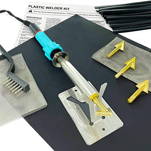Plastic Welding Repair Kit - 80W Iron 20 black Rods, Sandpaper,Stainless Steel Mesh, Portable Use - Welder Tools for Car Bumper, Kayak, Canoe,110V Only
