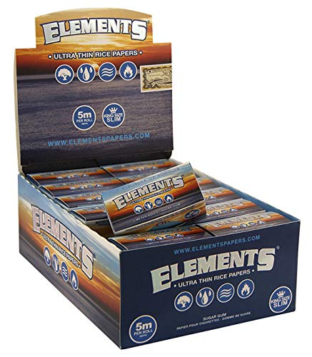 Elements Ultra Thin Rolls aus Reis, 5m-langes Zigarettenpapier, King Size Slim 1 Box (24 Rollen)