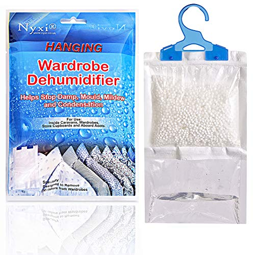 Nyxi - Bolsas deshumidificadores de armario para colgar, ideales para eliminar la humedad, el moho y la condensación, mejoran la calidad del aire, tamaño pequeño y discreto (paquete de 6)