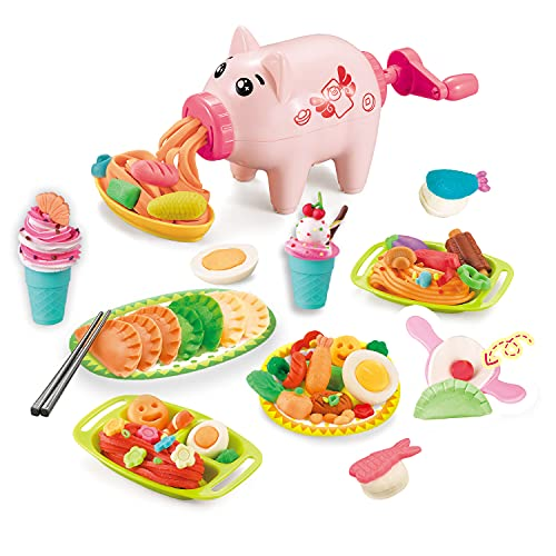 Playdough Kitchen Playset,Noodle Party Play Food & Ice Cream Maker Tools,Multi Colors Modeling Accessories,Kids Gift 3 Years and Up,Without Non-Toxic Compound Color Dough