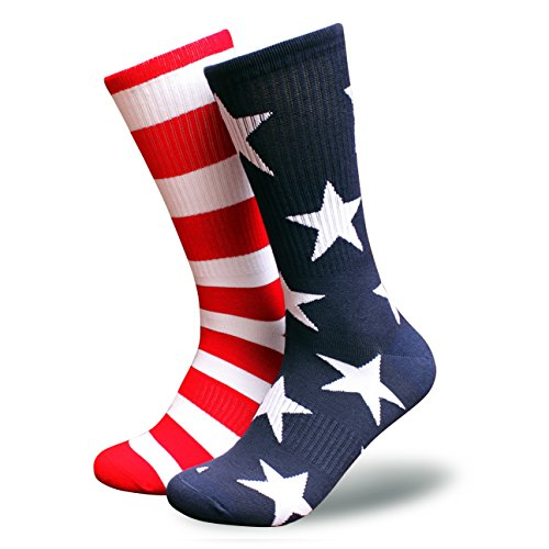 Tactical Pro Supply American Flag Socks - Patriotic USA Freedom Premium High Socks Nylon Spandex Polyester Materials -For Workouts Men Women U.S.A Mismatch (Mens)