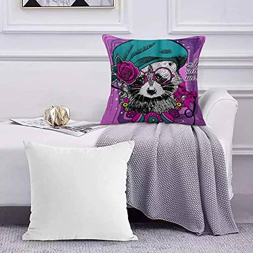 Ccstyle Funda de Cojín Funda de Almohada del Hogar Boina Mapache Vector con Gafas Rosa Dibujado Mano Square Soft and Cozy Pillow Covers,
