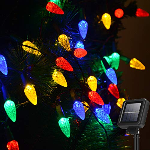 Huacenmy 100 LED Solar Christmas String Lights Outdoor Solar Powered Fairy Lights C6 Strawberry Christmas Lights for Bushes Wall Fence Roof Backyard Door Porch Trees Decoration (Multicolor, 8 Modes)
