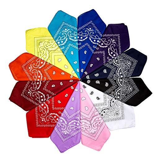 ZWOOS 12er Set Paisley Bandana Halstuch Bindetuch Haar Schal Ansatz Handgelenk Verpackungs Band Kopf Bindung, Set für Frauen, Männer und Kinder Mode-Accessoires(55 x 55 cm)