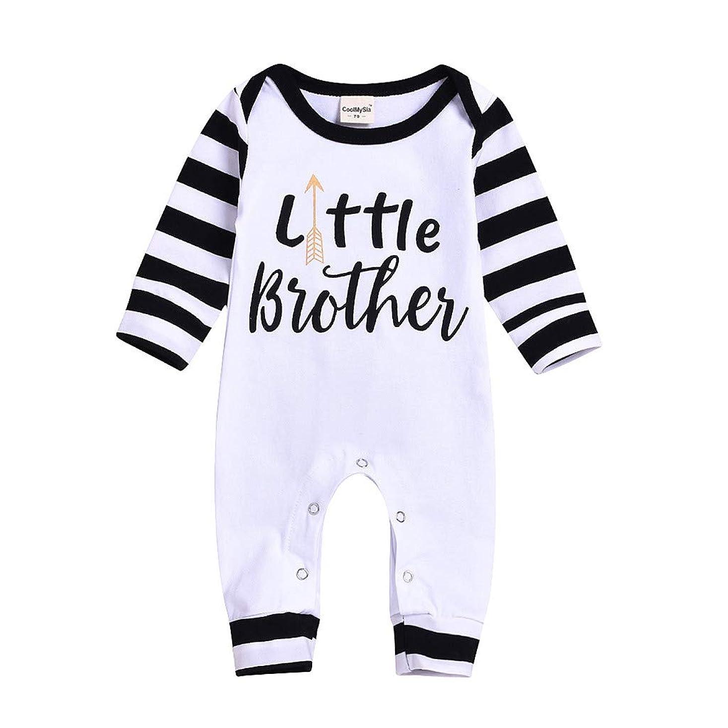 こねる人口欠如幼児の男の子ハロウィンTシャツ屋外かわいいルースソフト快適なブラウストップス幼児 生まれたばかりの赤ちゃんの女の子男の子レターストライプ長袖コットンロンパースジャンプスーツ