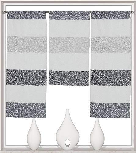 Decocompany Home Design Mini Flächenvorhang Set anthrazit 2297 | 3 Teile | Scheibengardine Gesamtbreite 90cm (3x30cm) Höhe 80/60/80cm