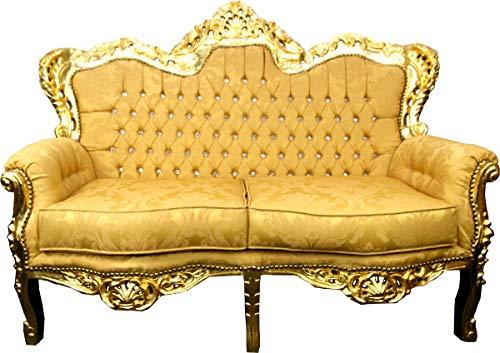 Casa Padrino Sofá de 2 plazas Barroco Patrón Dorado/Oro con Diamantes de imitación Bling Bling - Muebles de salón de Estilo Antiguo