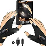 Avigers LED Flashlight Gloves - Gifts for Men Father Day Cool Gadgets Stuff for Men Dad, Christmas Stocking Stuffers, Mechanic Unique Gifts, Camping Tool, Outdoor Fishing Gloves (1Pair)