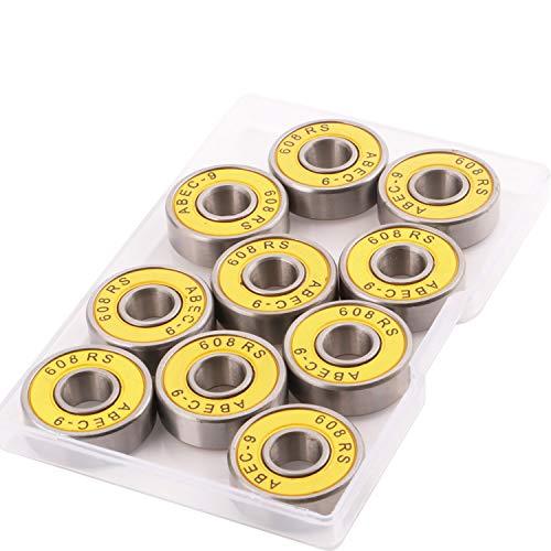 CESFONJER Rodamiento de Bolas de 10 Unidades 608RS ABEC 9 – 608 2RS Doble de Goma Sellada en Miniatura para Patinaje, Patines en Línea, Scooters (8 mm x 22 mm x 7 mm)