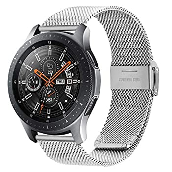 Fullmosa Quick Release Watch Band 20mm,Stainless Steel watch band Bracelet for Samsung Galaxy Watch 42mm,Samsung Gear S2 Classic/Gear Sport ,Huawei Watch 2,Garmin Vivoactive 3 Silver