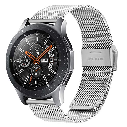 Fullmosa Quick Release Watch Band 20mm,Stainless Steel watch band Bracelet for Samsung Galaxy Watch 42mm,Samsung Gear S2 Classic/Gear Sport ,Huawei Watch 2,Garmin Vivoactive 3, Silver