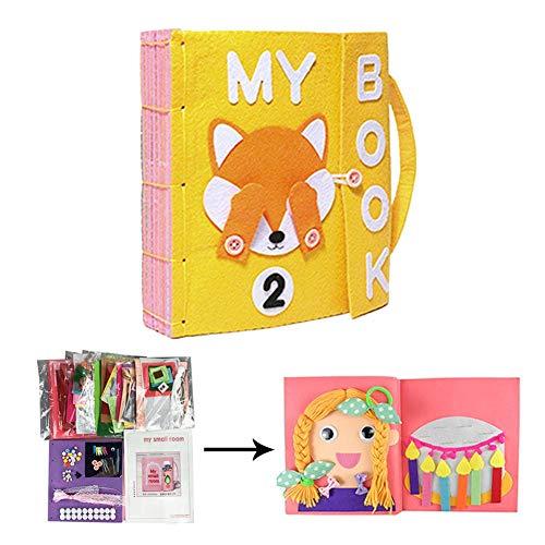 Libros de Bricolaje Blandos de Material Montessori Tableros de Aprendizaje de Vestir y Conocer Objetos Libros de Bricolaje par aBebés de 1-3 Años