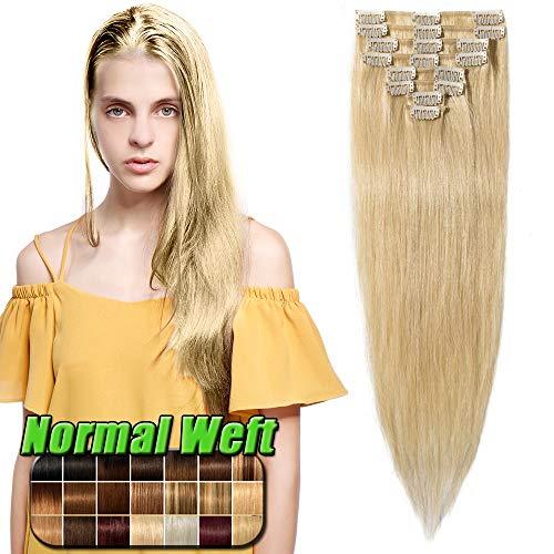 Extension Capelli Veri Clip - 40cm/65g #613 Biondo Chiarissimo- 8 Fasce 100% Remy Human Hair Ciocche Estensioni Lisci
