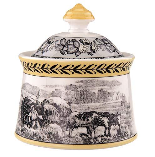 Villeroy & Boch Audun Ferme Zuccheriera, 300 ml, Altezza: 11.4 cm, Porcellana Premium, Bianco/Multicolore