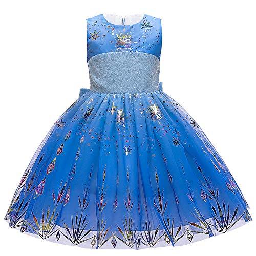 BAIDEFENG Nias Frozen Disfraz Princesa Carnaval Disfraz Snow Queen Cosplay Vestidos de Fiesta para Navidad Navidad Halloween Cumpleaos Traje de Desfile-Azul Oscuro_150cm