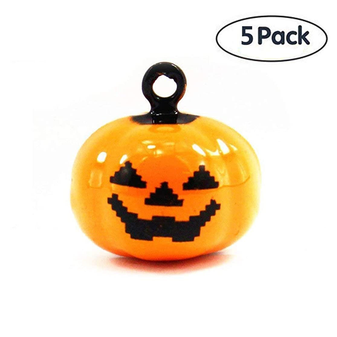 S-Lifeeling 5 Pack of Pet Bell Sets Halloween Pumpkin Bell 14 X 18 mm Jewelry Findings Pumpkin Jewelry Making Charms for Cat Dog Collar Or Interior Decoration shmnoluj5