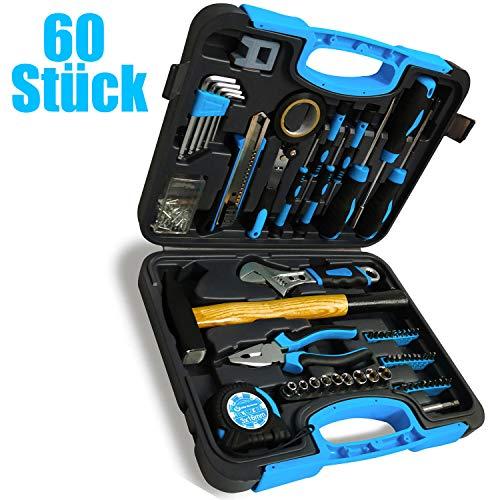 Werkzeugkoffer 60-teiliges Haushaltswerkzeug-Set mit Kunststoff-Aufbewahrungskoffer, einschließlich Steckdose, Schraubendreher-Set, Hammer, verstellbarem Schraubenschlüssel und Zange