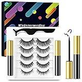 Magnetische Wimpern mit Magnetischem Eyeliner Kit,5 Paare Magnetische Eyelashes und 2...