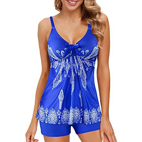 Zando Women Vintage Floral Swim Two Piece Push Up Swimsuit Top Ruched Modest Tankini Boyhorts Sporty Bathing Suit Royal Blue Floral Print 2XL (US 16-18)