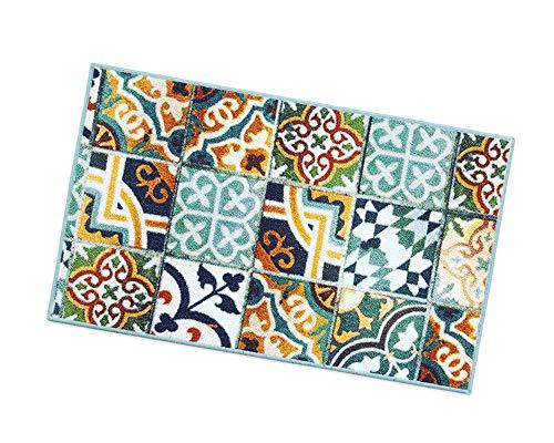 Küchenteppich, Motiv: Fliesen, rutschfeste Rückseite, 7Größen erhältlich, Mehrzweck-Teppich für Flur, Bad oder Schlafzimmer, Modell: Tapiro31 57x140 cm Multicolore (D)