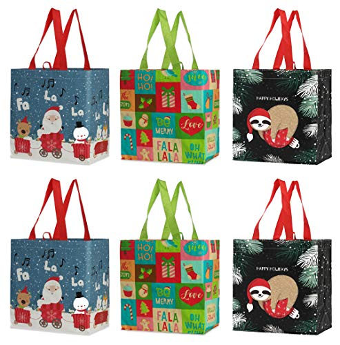 Reusable Grocery Bags Shopping Totes Heavy Duty Water Resistant Laminated Material Assorted Holiday Xmas Christmas Prints (Pack of 6)