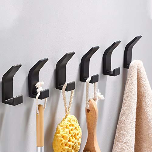 Handtuchhaken Selbstklebend, 6 Stück Wandhaken Selbstklebend, 8kg Handtuchhaken Bademantelhaken Haken Edelstahl Kleiderhaken Gebürstet Wandhaken, Ohne Bohren, Rostfrei, für Toilette/Küche/Büro