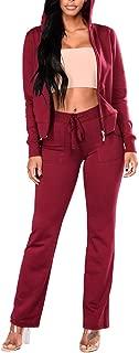 Pink Queen Womens Casual Printed Zipper Hoodie Sweatshirts Sweatpants Tracksuits