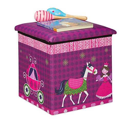 Relaxdays Sitzhocker Kinder, Prinzessin-Design, Sitzbox faltbar, mit Stauraum, Sitzwürfel, HxBxT 31 x 31 x 31 cm, lila, 1 Stück
