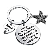AKTAP Thank You Gift Starfish Bracelet Never Underestimate The Different You Made and The Lives You Touched Appreciation Gift for Social Worker Volunteer Nurse Teacher Employee (Starfish Keychain)