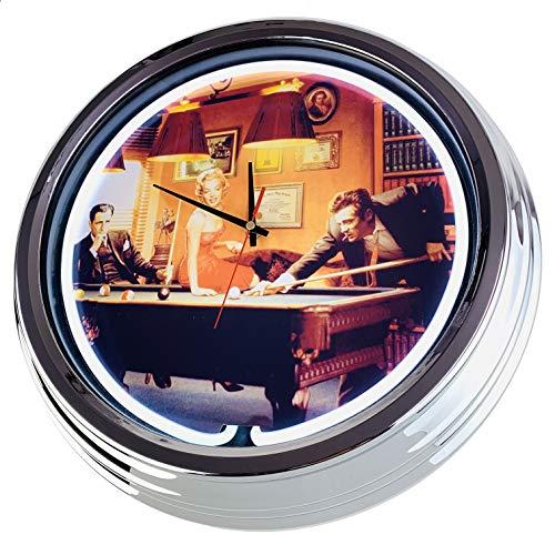 Neon Uhr Billiard Wanduhr Deko-Uhr Leuchtuhr USA 50's Style Retro Neonuhr Esszimmer Küche Wohnzimmer Büro (Weiß)