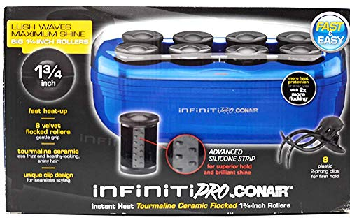 INFINITIPRO BY CONAIR Instant Heat Tourmaline Ceramic Flocked Hot Rollers, Hot Roller Setter for Mega Volume and Smooth Waves (1 3/4- inch)