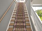 Marash Luxury Collection 25' Stair Runner Rugs Stair Carpet Runner with 336,000 Points of Fabric per Square Meter, Sarouk Green