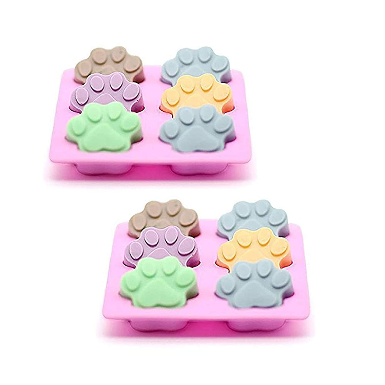 ESA Supplies 2 Pack Cat Soap Molds Soap Making Cat Paw Silicone Soap Making Mould Ice Cube Tray Cupcake Mold 6 Cavity