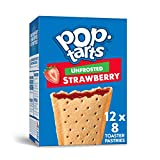 Pop-Tarts, Breakfast Toaster Pastries, Unfrosted Strawberry, Proudly Baked in the USA, 13.5oz Box(Pack of 12)