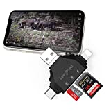 Trail Camera SD Card Viewer for iPhone/iPad/Android/Computer/Mac,4 in 1 SD/Micro SD Card Reader&Trail Camera Viewer to View Wildlife Game Camera Hunting Photos/Videos on Phone by LEEGLOAD