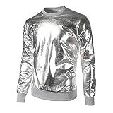 YunYoud Herren Slim Fit O Hals Lange Ärmel Muskel T-Shirt T-Shirt Lässige Oberteile Bluse (M, Silber)