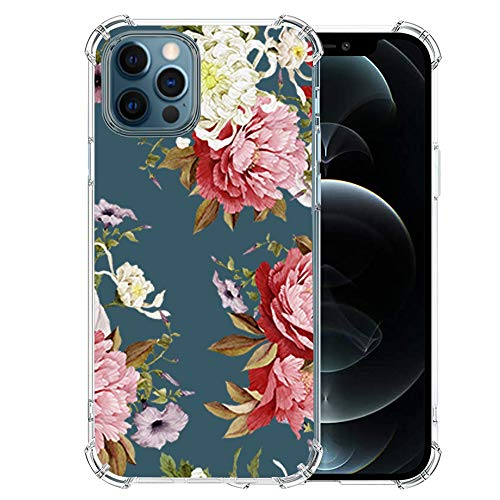 Silicone-iPhone-12-Pro-Max-Case with Glass Screen Protector, Cute Design Transparent Flower-for-Girls-Women Best Protective Slim-Fit-Clear-TPU-Soft-Girly Cover Phone Case for iPhone 12 Pro Max (27)