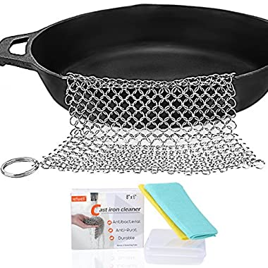Cast Iron Cleaner - IEFWELL Stainless Steel Cast Iron Chainmail Scrubber Cast Iron Skillet Cleaner, XL 8x6 Inch Bonus 2 Scouring Pads