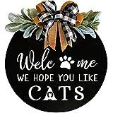 Colgador de puerta frontal con cartel de bienvenida: esperamos que te gusten los perros, colgador de puerta con vegetación de primera calidad (CATS)