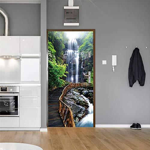 3D Deurfolie Deurfolie Waterval Boom Deur Stickers Zelfklevende Waterdichte Diy 3D Natuurlijke Landschap Behang Voor Deuren Woonkamer Slaapkamer Muurschildering-As_Shown_77X200Cm