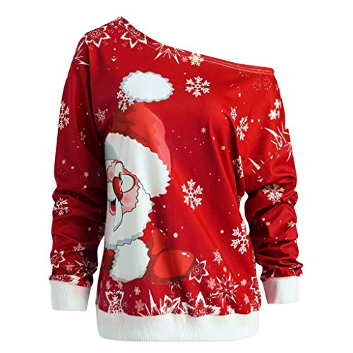 VICGREY Natale Felpa da Donna Stampa Babbo di Natale...