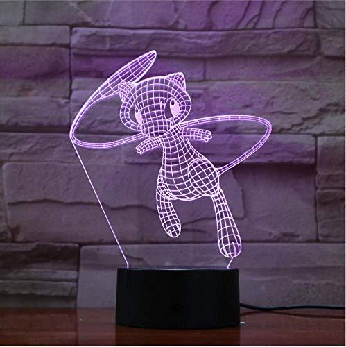Pokemon Belle Mew Cartoon 3D Lampe 7 Couleur Led Veilleuses Pour Enfants Touch Led Usb Table Lampara Lampe Bébé Veilleuse