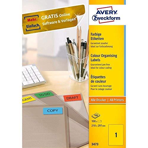 AVERY Zweckform 3473 Gelbe Etiketten (100 Aufkleber, 210x297mm auf A4, permanent haftende, selbstklebende Farbetiketten, Papier matt, bedruckbare, farbige Klebeetiketten) 100 Blatt