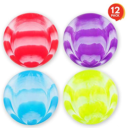 ArtCreativity Flying Disc Saucer Toys  Set of 12105 Inch Flyer Disks for Kids and Adults  Durable Plastic  Fun Summer Outdoor Activity Game for Boys Girls  Camping Birthday Party Favors