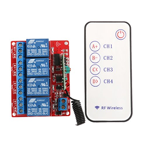 12v Vier Kanal 4-Kanal RF Wireless Fernsteuerung Schalter Relaismodul 433MHz